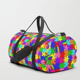 Autism Acceptance and Awareness Spectrum Rainbow Puzzle Pieces Duffle Bag