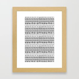 Black & White Hand Drawn Pattern Framed Art Print