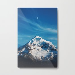 Moonrise Mt Hood Metal Print