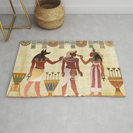 egyptian design man woman priest Rug
