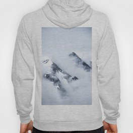 Minimalist MIsty Foggy Mountain Twin Peak Snow Capped Cold Winter Landscape Hoody