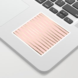 Abstract Drawn Stripes Gold Coral Light Pink Sticker