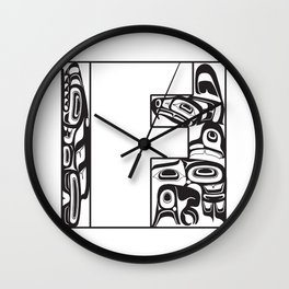 Northwest Pacific Coast American Native White Letter F Wall Clock