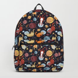 Cat astronaut seamless pattern Backpack