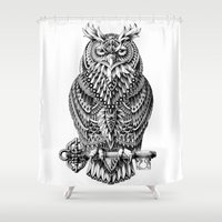 bioworkz Shower Curtains featuring Great Horned Owl by BIOWORKZ