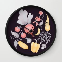 Vegetables (dark) Wall Clock