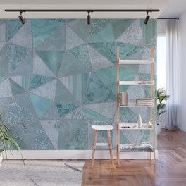 Precious Teal Triangle Pattern Wall Mural