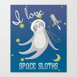 I Love Space Sloths Canvas Print