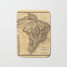 Map of Brazil and Paraguay (1828) Bath Mat