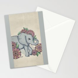 Little Elephant in soft vintage pastels Stationery Cards