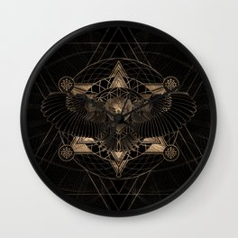 Owl in Sacred Geometry Composition - Black and Gold Wall Clock