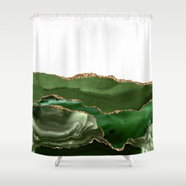 Beautiful Emerald And Gold Marble Design Shower Curtain