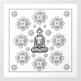 Buddha, HOME DECOR,with hand-painted Mandala Clouds,iPhone case,iPhone cover,iPhone skin,Laptop skin Art Print
