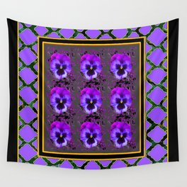 GARDEN OF PURPLE PANSY FLOWERS BLACK & TEAL PATTERNS Wall Tapestry