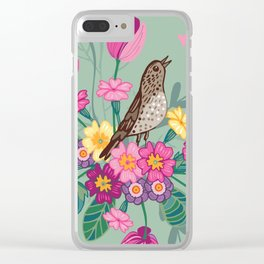 Birds in a Spring Garden on Green Clear iPhone Case