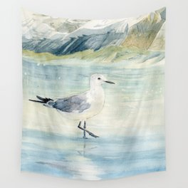 Seagull on the beach Wall Tapestry