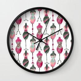 Vintage Dress Forms – Pink & Black Palette Wall Clock
