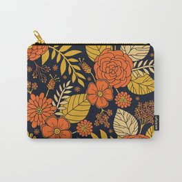 Retro Orange, Yellow, Brown, & Navy Floral Pattern Carry-All Pouch