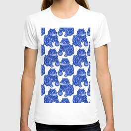 Chinese Guardian Lion Statues in Pottery Blue + White T-shirt