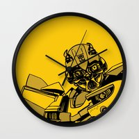 transformers Wall Clocks featuring Transformers: Bumblebee by Skullmuffins