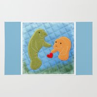 manatee Area & Throw Rugs featuring Manatee Love by pigknit