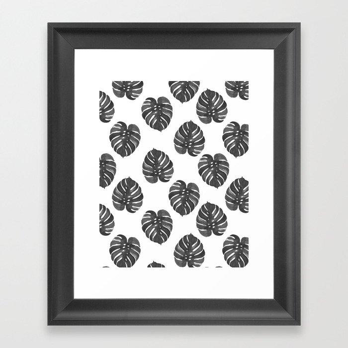 Monstera house plant leaf black and white painting  hipster indoor house plant tropical garden   Gerahmter Kunstdruck