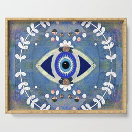 Evil Eye Protective Turkish Mandala Print Serving Tray
