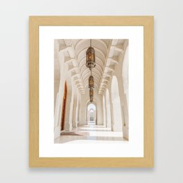 White Marble Arches of the Grand Mosque in Muscat, Oman Framed Art Print