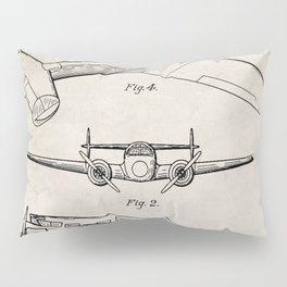 Lockheed Airplane Patent - Electra Aeroplane Art - Antique Pillow Sham