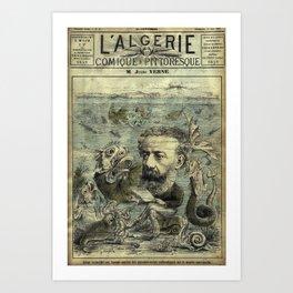 Vintage Jules Verne Periodical Cover Art Print