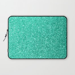 Aquamarine Aqua Blue Sparkly Glitter Laptop Sleeve