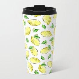 Lemon Watercolor Pattern Metal Travel Mug