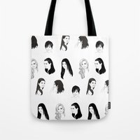kardashian Tote Bags featuring Keeping Up (Black and White) by Shany Atzmon
