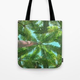 Upward View of Palm Trees Tote Bag