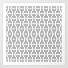 Mid century Modern Bulbous Star Pattern Gray Art Print