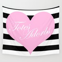 totes Wall Tapestries featuring Totes Adorbs Pink Heart  by The Trendy Sparrow