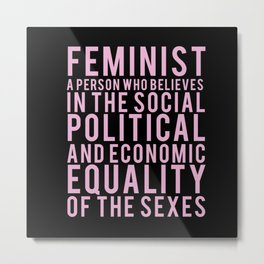 Definition of Feminist | Typography Metal Print