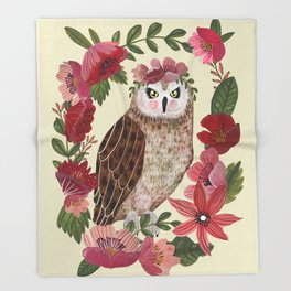 Floral Owl Throw Blanket