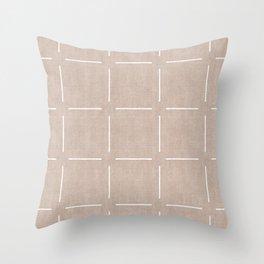 Block Print Simple Squares in Tan Throw Pillow
