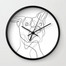 Pitbull Dog Line Art Wall Clock