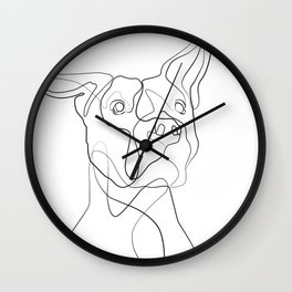 Pitbull Dog Line Art Wall Clock
