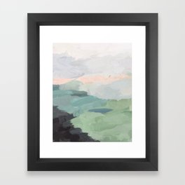 Seafoam Green Mint Black Blush Pink Abstract Nature Land Art Painting Framed Art Print