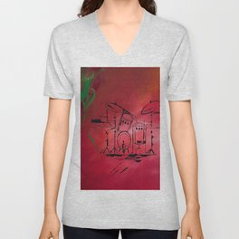 Music, Drummer, Drums, Orignal Artwork By Jodi Tomer. Rock and Roll Drums Unisex V-Neck