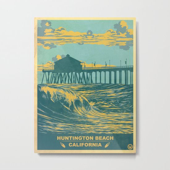 Vintage Huntington Beach Poster Metal Print