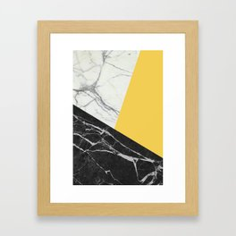 Black and White Marble with Pantone Primrose Yellow Framed Art Print