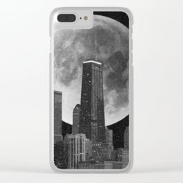 Full Moon Over Chicago Illinois Skyline Clear iPhone Case
