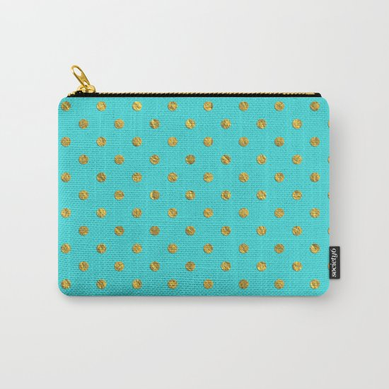 Gold glitter polka dots on turquoise backround pattern Carry-All Pouch