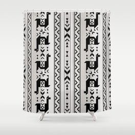Llamas_Gray & Black Shower Curtain