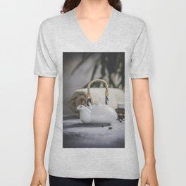 Tea set and spa settings on concrete background. Natural spa treatment and relaxation concept Unisex V-Neck