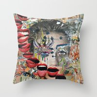 lip Throw Pillows featuring Lip Service by Katy Hirschfeld
